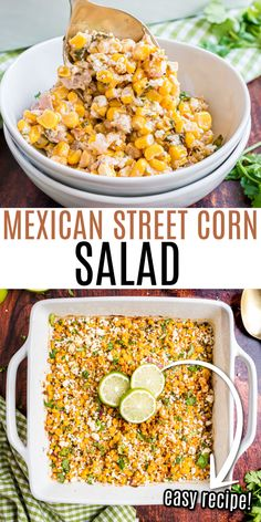 Sweet corn meets spicy Mexican flavor in this easy recipe. Mexican Corn Salad is filled with cotija cheese and tossed with an irresistible creamy dressing. Perfect for serving with baked tacos or scooping up with tortilla chips! Corn Salad Recipes, Corn Salads, Veggie Recipes, Mexican Food Recipes, Cooking Recipes, Mexican Desserts, Mexican Dishes, Sweets Recipes, Easy Recipes