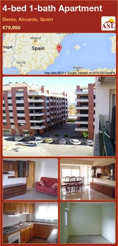 Apartment for Sale in Denia, Alicante, Spain with 4 bedrooms, 1 bathroom - A Spanish Life Apartments For Sale, Fitted Wardrobes, Alicante Spain, Laundry Area, Seville, Dining Area, Terrace, Flooring, Sevilla