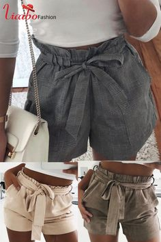 Women High Waisted Tie Belt Shorts Ladies Summer Casual Beach Trousers Hot Pants Belted Shorts, Sexy Shorts, Casual Shorts, Women Shorts, Summer Fashion Outfits, Spring Summer Fashion, Club Dresses, Short Dresses, Diva Fashion