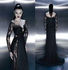 Siyah Dantelli Uzun Elbise