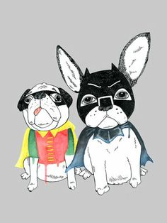 The Frenchie & Pug print. Jolly Awesome at East End Prints