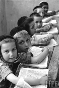 Learning to read Hebrew Israel, 1960.