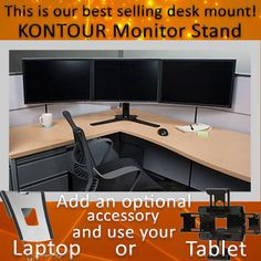 """This multiple monitor stand accommodates monitors up to 30"""" (dual monitors) or up to 27"""" (triple monitors) and is available in 3 models: Freestanding, Grommet or Desk Clamp. It provides a stable solution for call centers, security desks, IT, health care, control rooms and other multiple monitor settings."""