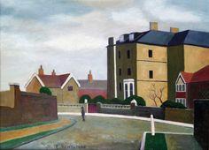 Grove Park Rd 1935 by Elwin Hawthorne London Art, East London, Paradise Garden, Grove Park, Brick Lane, Realistic Paintings, Urban Art, Old Houses, Britain