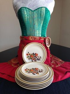 Floral Pattern Stone Ware Plate Set 1970's Vintage on Etsy, $60.00