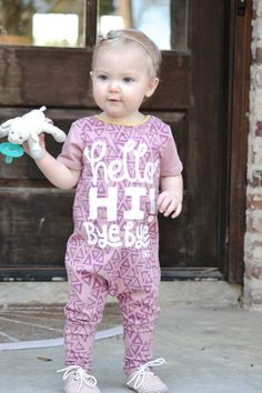 Pops of pink for baby girl // Rags to Raches Hello Hi Bye Bye romper
