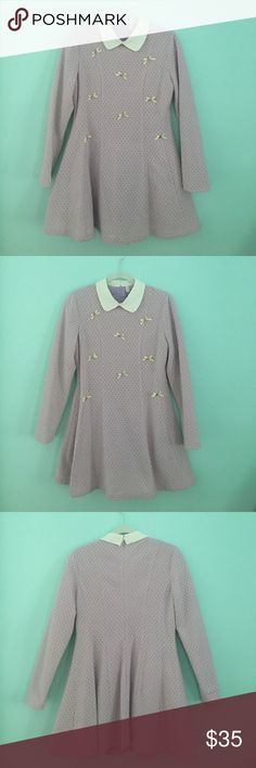 Gorgeous lavender long sleeve collared mini dress Lovely lavender long sleeved mini dress, fit and flare, white/cream Peter Pan collar, mod style, very cute, bow and rhinestone detail, super soft, never worn, tags attached, fully lined with silky lavender lining underneath, tags say it is pink but it is light purple StyleWe Dresses Mini