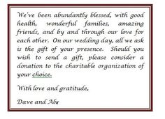 NO GIFTS PLEASE INVITATION WORDING | invite ideas | Pinterest ...