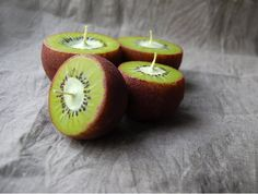 Kiwi Candles Hand Painted Ball Candles Set Of 3 by LessCandles