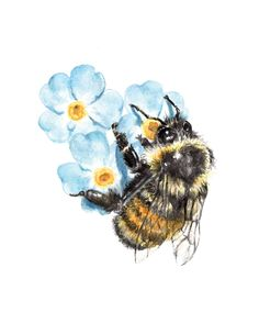 Bee decor and vintage bee hive home decorating. Shop for bee and beehive jewelry, beehive art and home decor and other handmade vintage bee goods for your little hive. Bumble Bee Tattoo, Honey Bee Tattoo, Bee Painting, Painting Tattoo, Tatoo Art, Watercolor Print, Watercolor Flowers, Watercolor Paintings, Sister Tatto