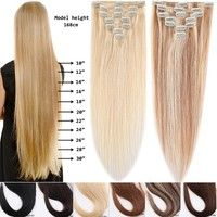 100 Remy Clip In Human Hair Extensions 15 20inch 7pcs Set