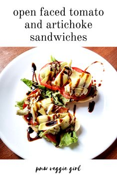 easy open faced tomato and artichoke sandwiches Egg Free Recipes, Veggie Recipes, Vegan Sandwich Recipes, Sandwich Ideas, Summer Recipes, Fall Recipes, Artichoke Recipes, How To Make Sandwich, Vegan Dinners