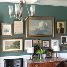 decorating on a shoestring budget - fabulous art gallery wall - art wall - wall color Benjamin Moore Jack Pine - Wait until you read how she did some of the art. Super cheap but it doesn't look it. Ceiling Paint Colors, Best Paint Colors, Grey Paint Colors, Exterior Paint Colors, Wall Colors, Color Walls, Painting Trim, Drip Painting, Stained Wood Trim