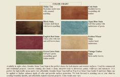 Brick Stain Home Depot | Kemiko Acid Stain Color Chart