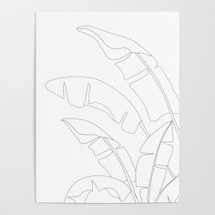 Minimal Line Art Banana Leaves Art Poster by Nadja - X Leaf Drawing, Plant Drawing, Drawing Frames, Book Drawing, Doodle Wall, Deco Jungle, Banana Art, Banana Leaves, Free Art Prints