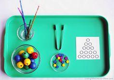Montessori Monday - Montessori-Inspired Math Activities Using Wooden Beads and Free Printables. Montessori Materials, Montessori Activities, Preschool Activities, Teaching Kids, Kids Learning, Montessori Practical Life, Fun Math Games, Learning Through Play, Preschool Kindergarten