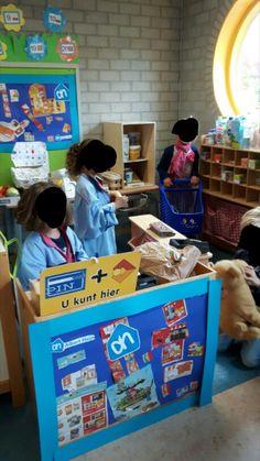 """Thema supermarkt...een """" echte"""" albert heyn in onze groep. Stage, Education, Onderwijs, Learning"""