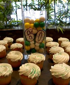 Cupcakes and decorations for our party celebrating the 60th Anniversary of the Holiday Inn brand.  The party was held in our lobby, and all guests were welcome!