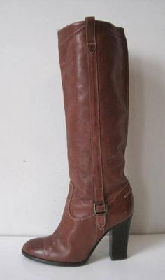 Women's J Crew Fashion Brown Leather Knee High High Heels Boots Vintage Size 8 TF901Bse