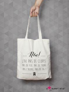 Tote Bag Coton - NON ! : Sacs à main par lapoupettepaillettes