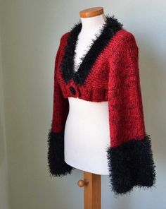 Beautiful and comfortable warm knitted shrug. The base is made of acrylic with mohair, with very nice cuffs and collar which is made of acrylic with Shrug Cardigan, Knitting, Trending Outfits, My Style, Red, Sweaters, Cuffs, Handmade, Base