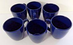 CORELLE Stoneware Coffee MUGS - Tea Cups - BLUE - Set of 6  #Corelle