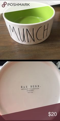 """Rae Dunn """"Munch"""" Pet Bowl Rae Dunn """"munch"""" pet bowl with lime green inside. Rae Dunn Other"""