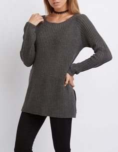 Open Back Tunic Sweater | Charlotte Russe