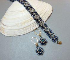 Estelle beaded bracelet and earrings/ PDF file by mariposa8000