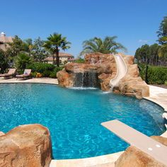 Amazing Mediterranean Pool With Diving Board Slide Waterfal And Jumping Rock Awesome Swimming Pool With Diving Board Pictures As Your Backyard Ideas Backyard Pool Landscaping, Backyard Pool Designs, Swimming Pools Backyard, Swimming Pool Designs, Landscaping Ideas, Lap Pools, Indoor Pools, Pool Decks, Backyard Ideas