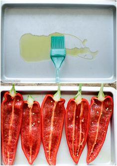 Gevulde puntpaprika met gehakt | Kookmutsjes Tapas, Good Food, Stuffed Peppers, Fish, Meat, Vegetables, Recipes, Diners, Portobello