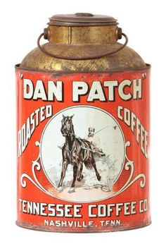 Dan Patch, a famous pacer, is pictured on this coffee tin. The horse was a celebrity in the early 1900s. Today his fame lives on in collectibles and, of course, in harness-racing record books. William Morford auctions, in Cazenovia, NY, sold this 11-inch tin for 2,035.