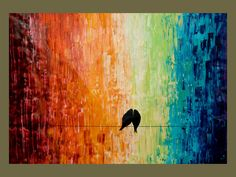"""Un-Stretched 40"""" Original Modern Abstract Heavy Texture Palette Knife Impasto Painting Love Birds Landscape Wall Decor """"Forever more"""". $279.00, via Etsy."""