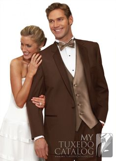 The Mahogany (Brown) 'Summit' Tuxedo by After Six is an edgy alternative to a traditional tuxedo.  The styling is very traditional, featuring a single-button front, satin notch lapels, self top collar, satin besom pockets, and non-vented.  But the fact that it is from a mahogany Poly/Wool blended material instead of traditional black makes it perfect for daytime formal wear, garden weddings, destination weddings, and proms!  A great way to stand out from the crowd in a cool and classy way!