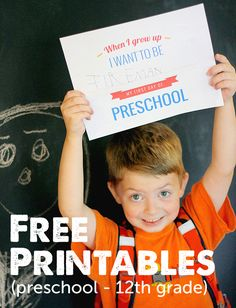 I'm using this free printable pack to document what my daughter wants to be every year on her 1st day of school and then I'll turn it into a photo book!