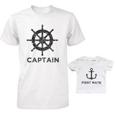 Captain And First Mate Matching Shirts Father And Son Outfits Father's Day Gift, Size: Adult -Medium / Baby -18 Month, Black