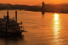 Ohio River Sunset by Scott McHenry on Capture Cincinnati // A golden sunset over the Ohio River.