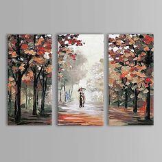 Pintado a mano de pintura al óleo Paisaje Parejas caminar bajo la lluvia con extendía Frame Set de 3 – USD $ 109.99