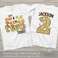 zoo / jungle theme second 2nd birthday shirt - let's roar and play i'm two today lion tiger giraffe elephant alligator shirt