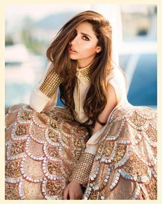 mahira khan posing for the divani couture Pakistani actress Mahira Khan slayed in the latest photoshoot which took place for fashion brand Diva'ni. Check out photos. Pakistani Outfits, Indian Outfits, Pakistani Models, Indian Clothes, Pakistani Bridal, Indian Bridal, Asian Fashion, Love Fashion, Ethnic Fashion