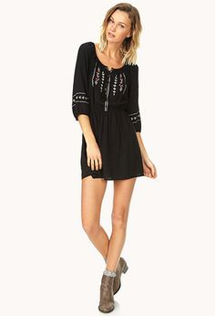 Peasant-Style Embroidered Dress | FOREVER21 - 2000070765