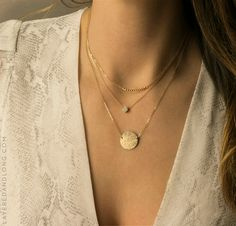 Circle Necklace - Round Disk w Initial or Blank.  Layered and Long