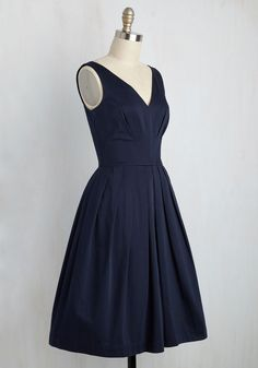 Culminate in Charm Dress in Navy. The individual details of this pocketed dress by hard-to-find British brand Emily and Fin are enough to catch eyes. #blue #wedding #bridesmaid #modcloth