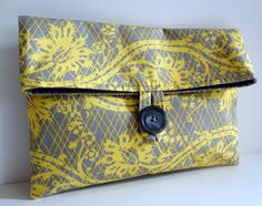 Yellow and Gray Cosmetic Bag  Linear Lace Print  by BagsByLora,
