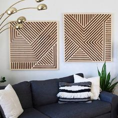 Each piece is 36 x 36 inches. Hung 3 inches apart, fills a space 3 x 6 ft long. This piece is made with all locally sourced materials, and 100% made in the U.S.A. From lumber to finished piece, its all done in a one-woman shop in Austin, TX. The wood is finished to a smooth feel