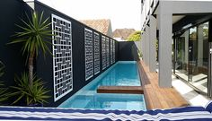 QAQ decorative screens as wall art along a pool. These are our 'Cairo' design in ACM (aluminium composite material). Interior Cladding, Interior And Exterior, Outdoor Rooms, Indoor Outdoor, Outdoor Decor, Laser Cut Screens, Aluminum Screen, Garden Screening, Decorative Screens