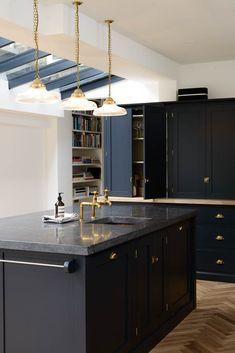 Dark Kitchen A Beautiful Shaker Kitchen Design by Devol … Belgium Blue Blue Shaker Kitchen, Black Granite Kitchen, Blue Kitchen Cabinets, Black Kitchens, New Kitchen, Dark Cabinets, Kitchen Black, Painted Cupboards, Blue Door Kitchen