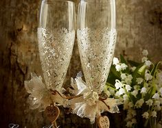 Gold and Ivory Wedding Champagne Flutes Wedding by LaivaArt