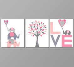 Love Pink and grey  Nursery Art  nursery room by SugarInspire, $14.95