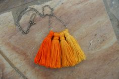 orange and gold ombre tassel necklace #etsy #shop #recklesscrush #necklace #jewelry